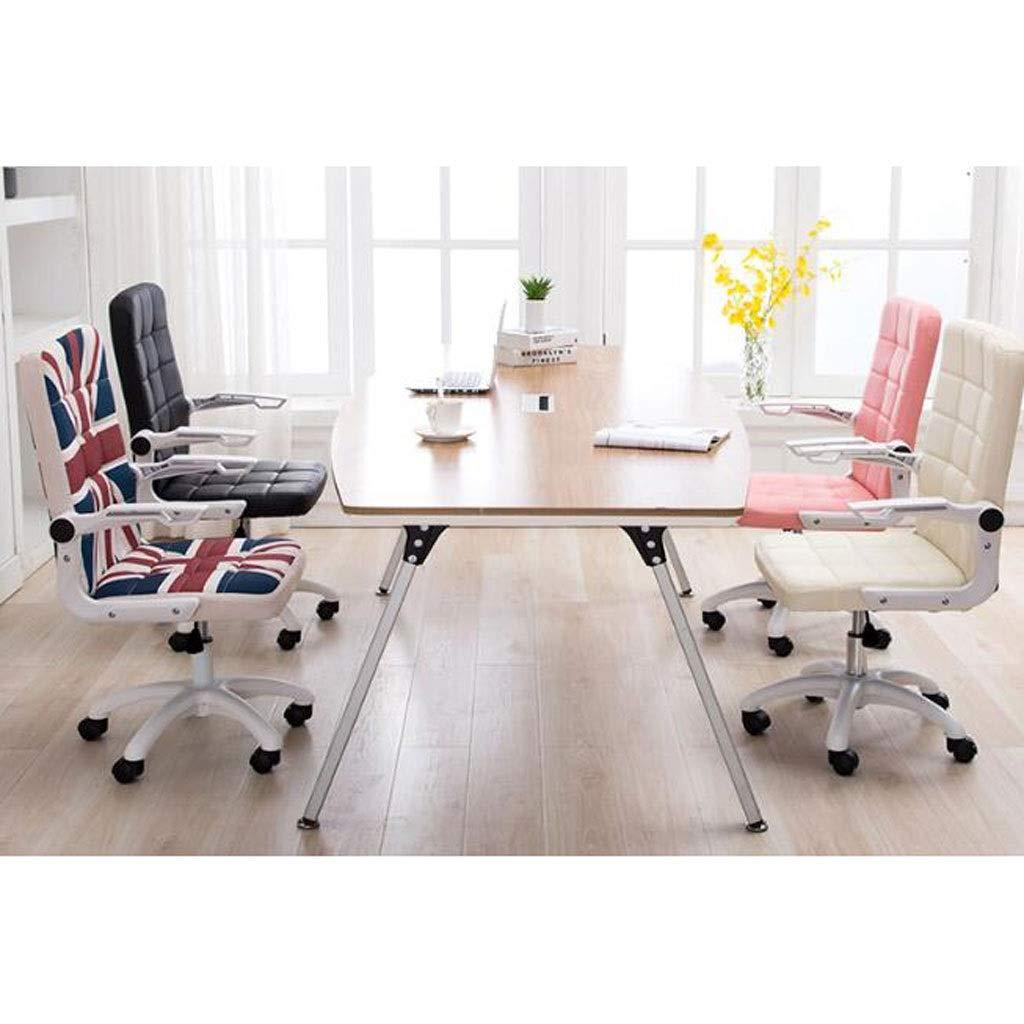 Skrivbordsstol – kontorsstol med armar/hjul för tonåringar/studenter svängbart fuskläder hem dator svart Rosa Rosa
