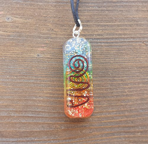 Vogel Crystal Pendant - [A&S Crystals] ORGONE 7 CHAKRA Layered Gemstone Rectangle Pendant Orgonite