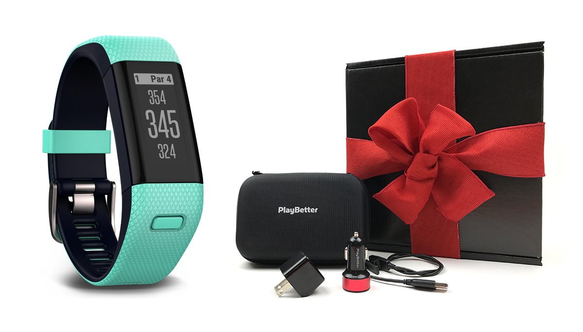 Garmin Approach X40 (Frost Blue) Gift Box Bundle | Includes Golf GPS/Fitness Band, PlayBetter USB Car & Wall Charging Adapters, Protective Hard Carrying Case | Black Gift Box and Red Bow