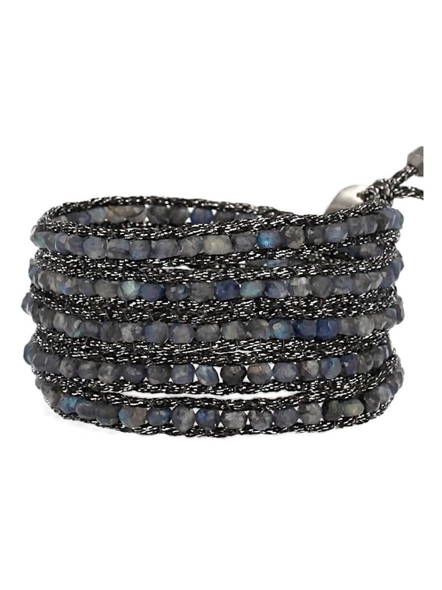 Chan Luu Blue Labradorite Wrap On Metallic Black Mokuba Ribbon Bracelet