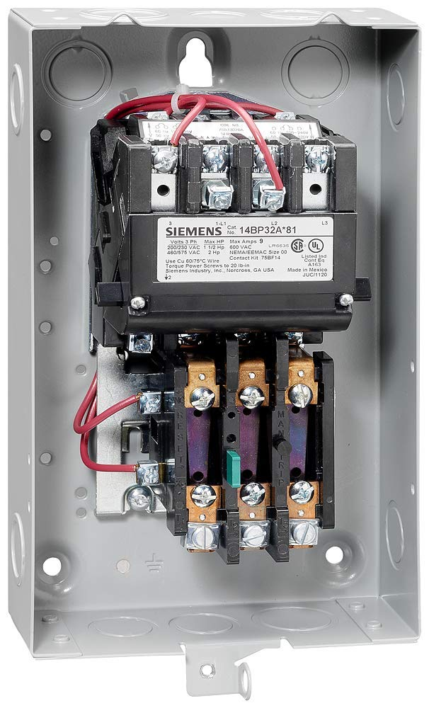 Manual//Auto Reset 115A Contactor Amp Rating Ambient Compensated Bimetal Overload 120 Separate Control at 60Hz Coil Voltage 3 Phase Siemens 14IP82BF81 Heavy Duty Motor Starter 3 Pole 3 12 Half Size NEMA 1 General Purpose Extra Wide Enclosure