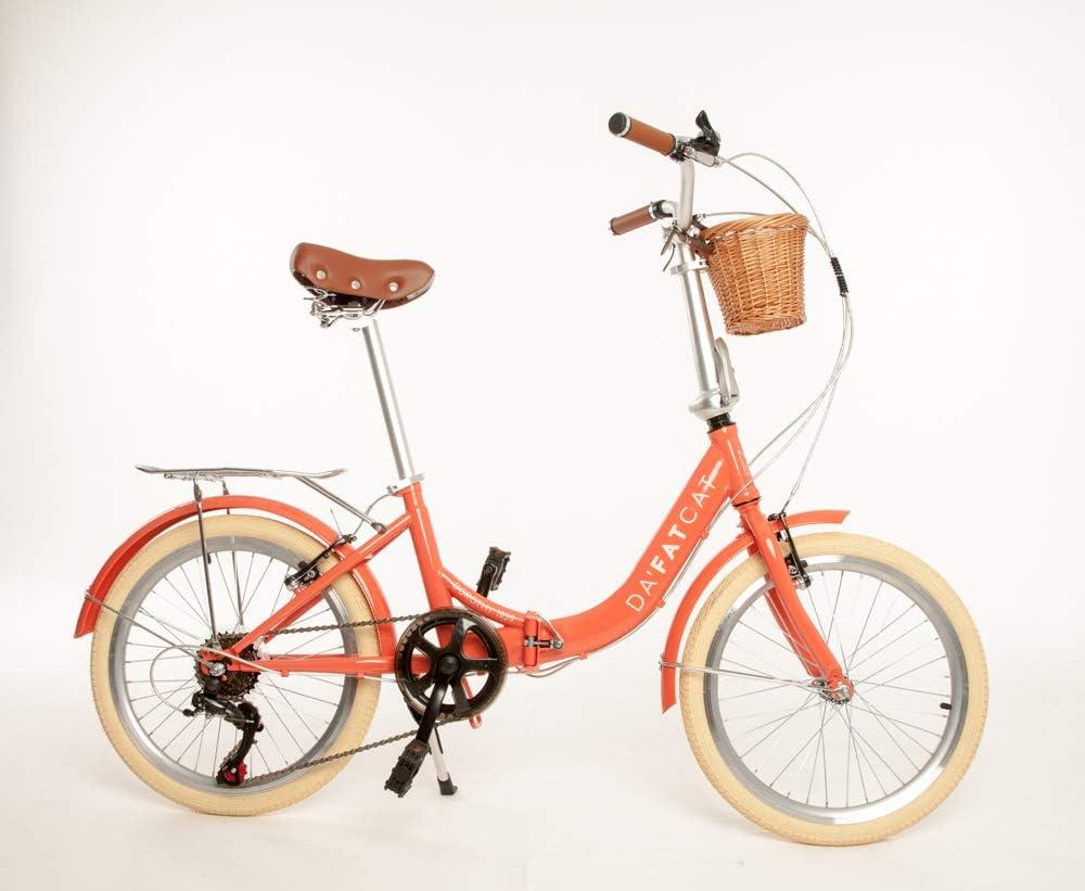 Modelo Coral con Cesta Adulto Unisex/… DaFatCat Bicicleta Plegable de dise/ño Dorothy 1939 neum/áticos 20 6 velocidades Shimano Vintage