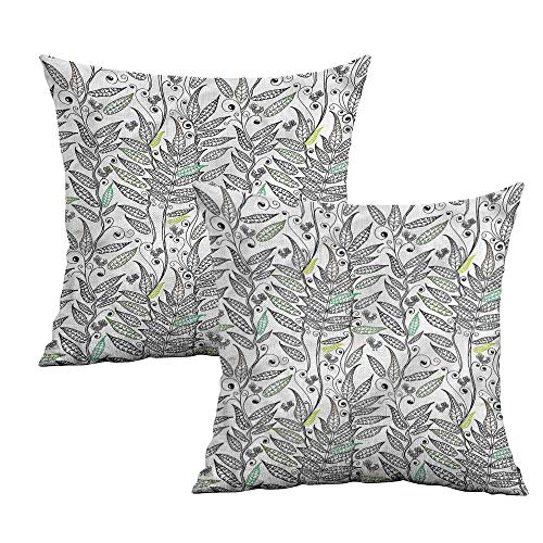 Khaki home Doodle Square Pillowcase Covers with Zipper Fern Plant Leaves and Bird Square Throw Pillow Covers Cushion Cases Pillowcases for Sofa Bedroom Car W 14