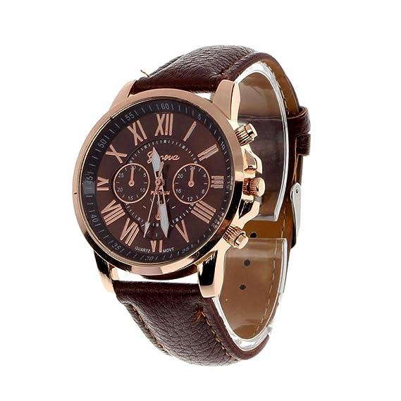 El mundo de la moda de los números romanos de ginebra Lacaca analógico reloj de pulsera de cuarzo de las mujeres de color marrón: Amazon.es: Relojes