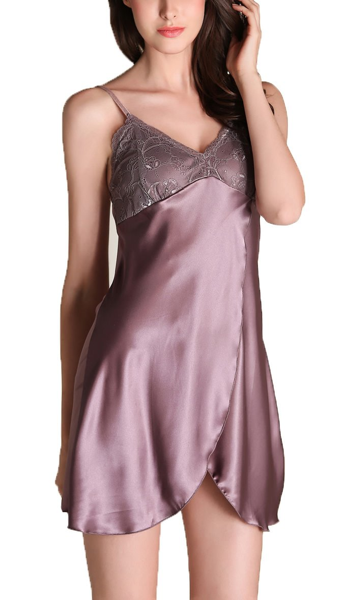 Jashe Women's Lingerie Satin Lace-Trim Nightgown Sexy Slip Front Slit Chemise Silky Sleepwear