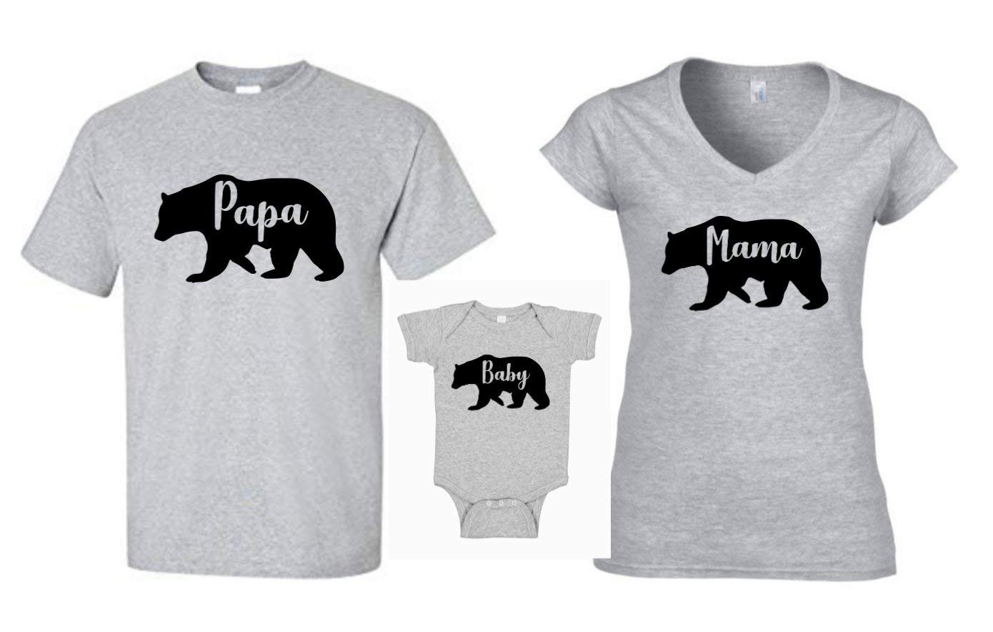 Family Bear Shirts Christmas Mama Bear Papa Bear Baby Bear Matching Grey