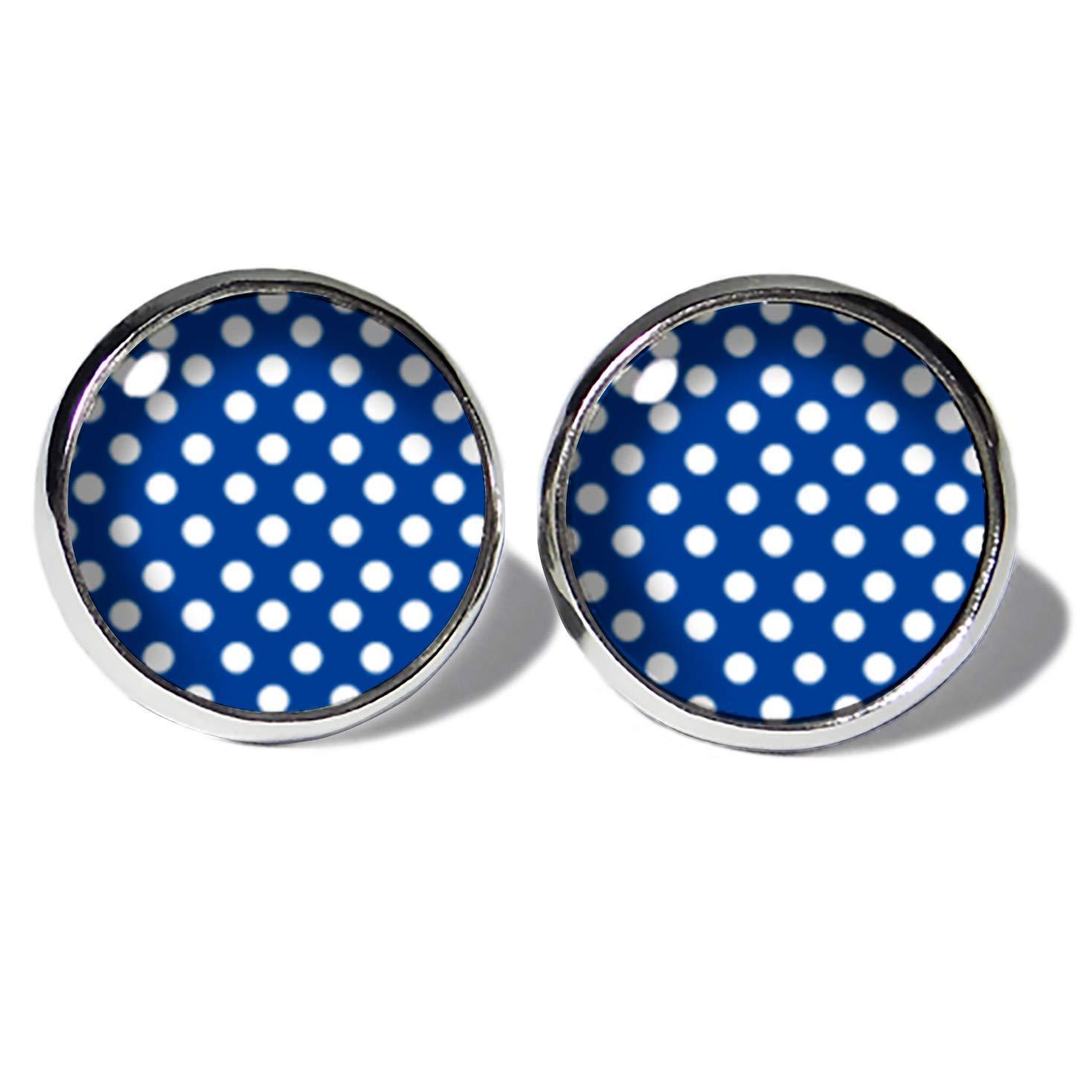 Punkte Weiss-Blau Ohrstecker ABOUKI Damen M/ädchen Kind Kinder Edelstahl Ohrschmuck Motiv Polka Dots Rockabilly gepunktet handgefertigte Ohrringe silber-farben