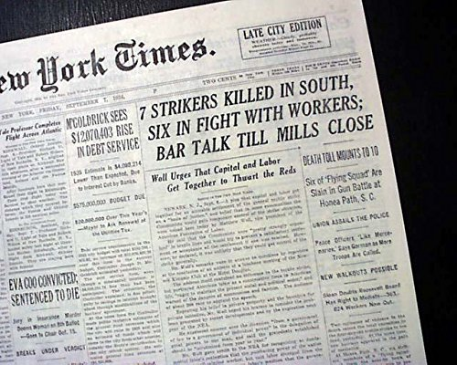 TEXTILE WORKERS STRIKE w/ Honea Path SC Southern States RIOTS 1934 Old Newspaper THE NEW YORK TIMES, September 7,...