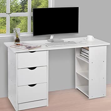 computer desk with 3 drawers and 3 shelves home office pc table