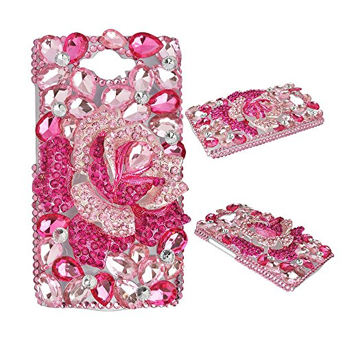 Spritech(TM Motorola Droid Turbo Smartphone Case,Bling Rose Crystal 3D Handmade Flower Diamond Accessary Clear Phone Cover
