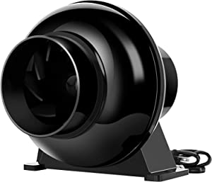 "iPower GLFANXINLINELITE4 4 Inch 195 CFM Inline Duct Ventilation Fan Air Circulation Vent Blower for Grow Tent, 4"" Lite, Black"