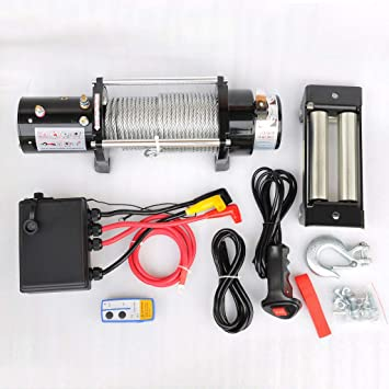 Wotefusi 9500lb Elektrische Seilwinde 12v Universal Stahlseil Abschleppseil Abschlepp Kit Mehrweg Auto