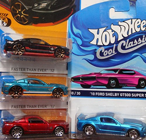 Hot Wheels Detailed Diecast 2010 Ford Shelby GT-500 Super Snake Cobra: Cool Ones Series Real Riders #30/30, Red 10 Spoke, Metallic Aqua & Black Scattered Chrome FTE {4 Pieces} 1/64 Scale Collection. (Shelby Super Snake)