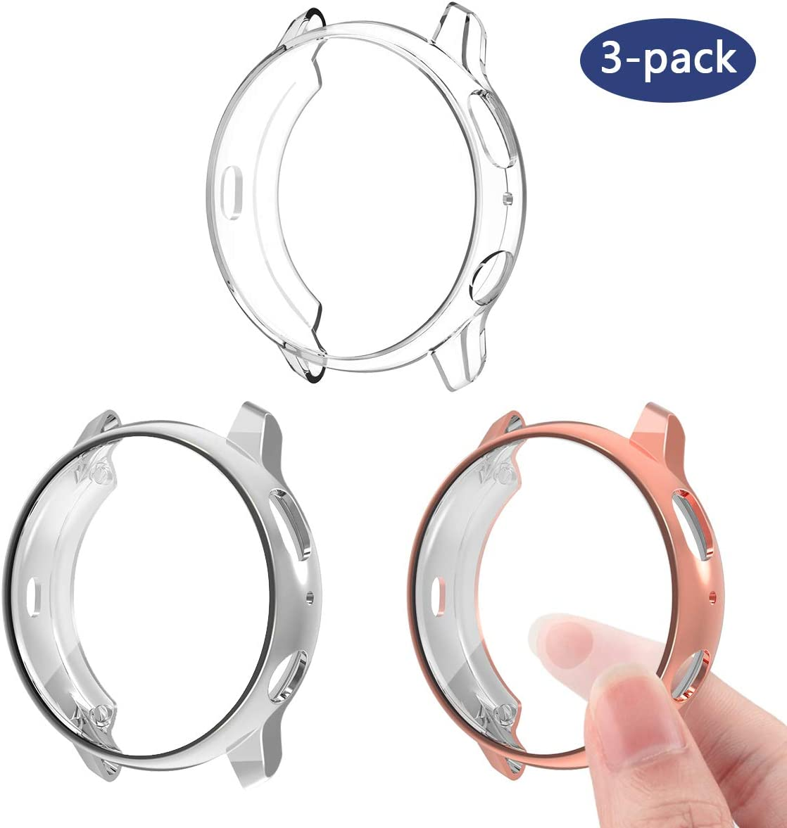 3 protectores pantalla p/Samsung Galaxy Watch Active2 40mm