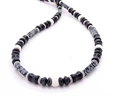 e182f5291d960 DAMALI Mens Chakra Necklace, Obsidian For Personal Power, Protection ...
