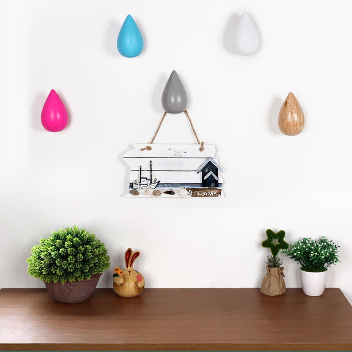 Percheros de pared BESTOMZ Gancho de pared madera para colgar ropa abrigos en forma de gotas de agua
