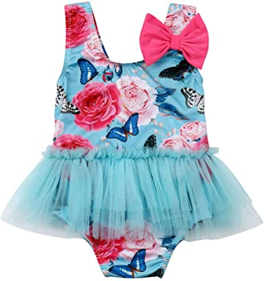 Toddler Baby Girls Swimwear Sunsuit for 1-6 Years Old Kids Ruffle Print Swimsuit Bathing Suit Swimming Clothes