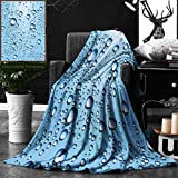 Unique Custom Double Sides Print Flannel Blankets Modern Decor Water Marks Ice Cold Soda Commercial Like Glass Drops Photo Image Ice Super Soft Blanketry for Bed Couch, Throw Blanket 40 x 60 Inches