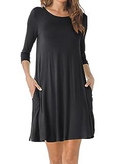 acb425cfdd TINYHI Women s O-Neck 3 4 Sleeves Tunic Pocket Loose Casual Swing Tshirt  Dress