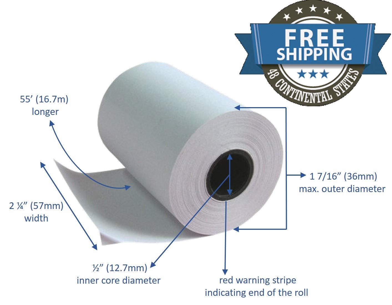 Thermal Paper Rolls 2 1/4 X 50 Verifone Vx520 Ingenico ICT220 ICT250 FD400 (10 rolls)