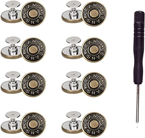 8 Sets Replacement Jean Buttons,No Sew Removable Metal Button for Jeans,17mm Button Repair Kit with Screwdriver in Plastic Storage Box.Fit for Any Cowboy Clothing,Jackets,Pants