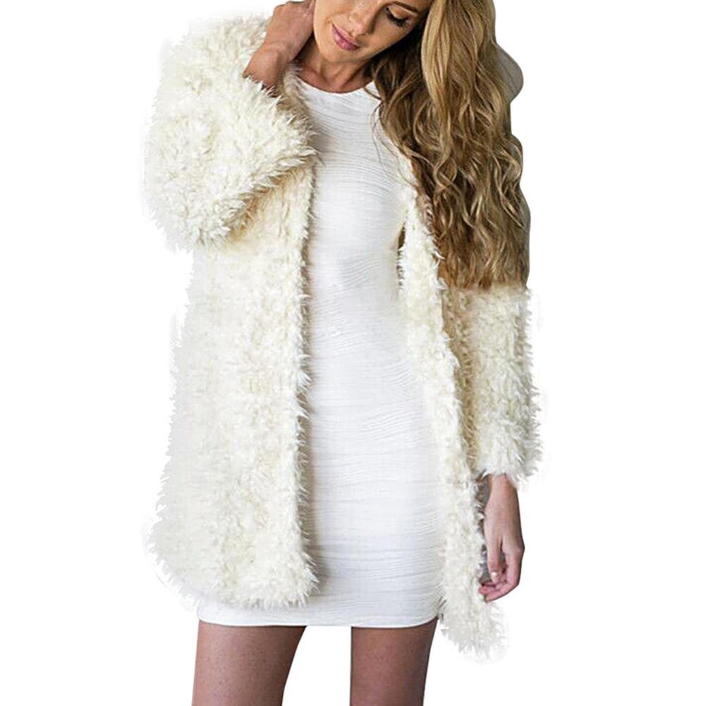 WM&MW Fashion Faux Fur Coat,Women Velvet Cardigan Thick Open Front Long Plush Jacket Outwear (White, M) by WM&MW