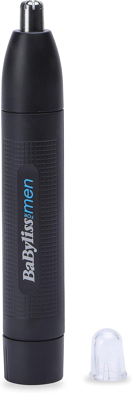 BaByliss MEN E650E Perfilador para nariz y orejas, sistema de corte circular, lavable bajo el grifo, color negro