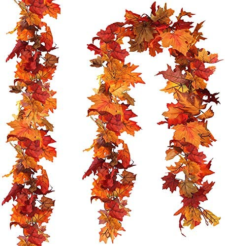Thanksgiving 2 Pack Fall Leaf Hanging Garland Autumn Decoration Maple Leaves NEW
