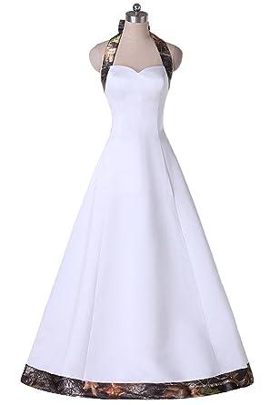 Amazon Com Ainnie White Wedding Dress Camo Halter Bridesmaid Dress