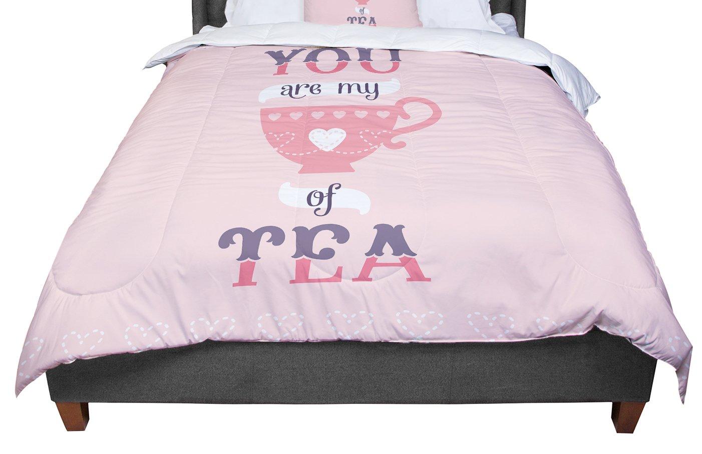 KESS InHouse Daisy Beatrice My Cup of Tea Pink Purple Twin Comforter 68 X 88