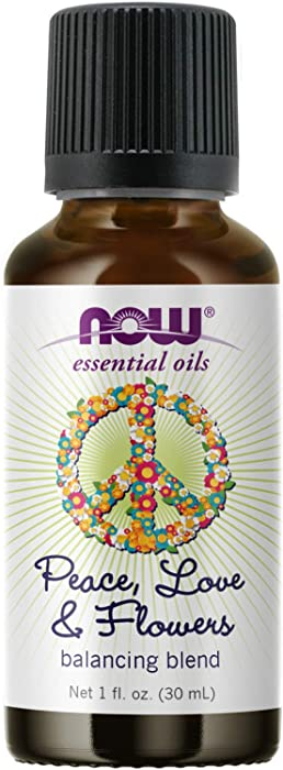 NOW Essential Oils, Peace, Love and Flowers, Sweet Floral Aromatherapy Scent, Blend of Pure Essential Oils, Vegan, Child Resistant Cap, 1-Ounce