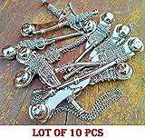 saif.nautical.store Lot of 10 pcs 5'' Brass Bosun's Whistle w Chain Bosun Call Pipe chrome finish