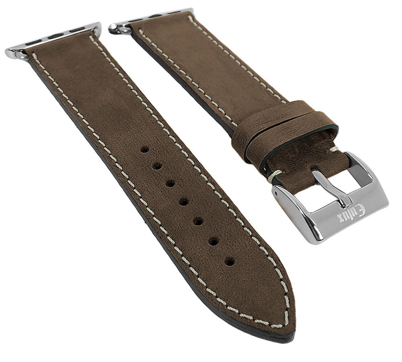 Minott | Uhrenarmband passend zu Apple Watch 42mm - Leder ? 29972 - Farbe:dunkelbraun