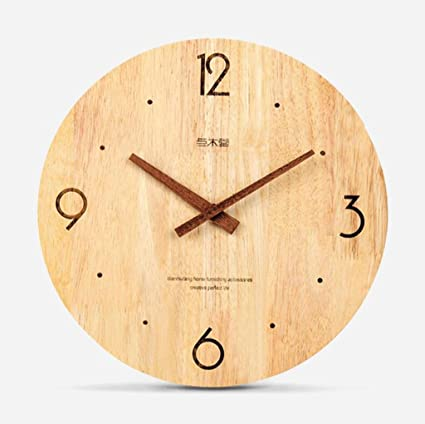 TXXM Relojes de pared Reloj de Pared de Madera Maciza Simple Reloj de Pared muda China