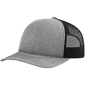 Amazon.com  Richardson Black 112 Mesh Back Trucker Cap Snapback Hat ... a2629e61e97a