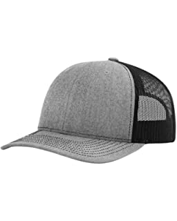 half off 3e222 8aadc Richardson 112 Mesh Back Trucker Cap Snapback Hat, Heather Black