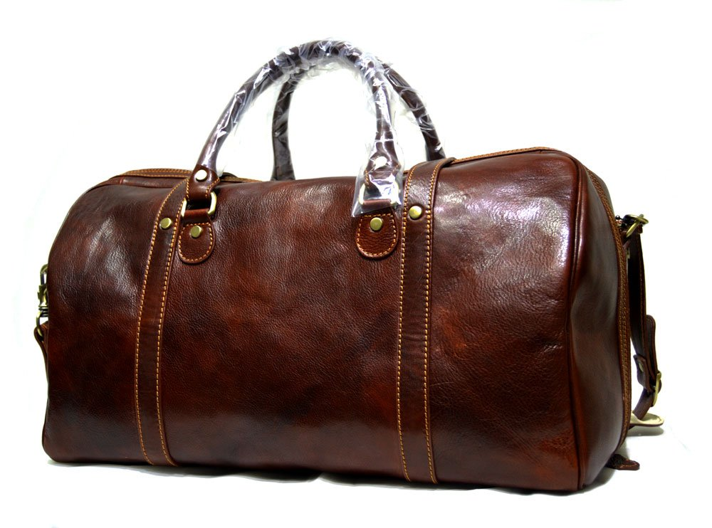 Leather travel bag duffle bag weekender overnight carryon hand luggage genuine leather duffle bag gym bag mens ladies carryon brown mens leather women's duffle