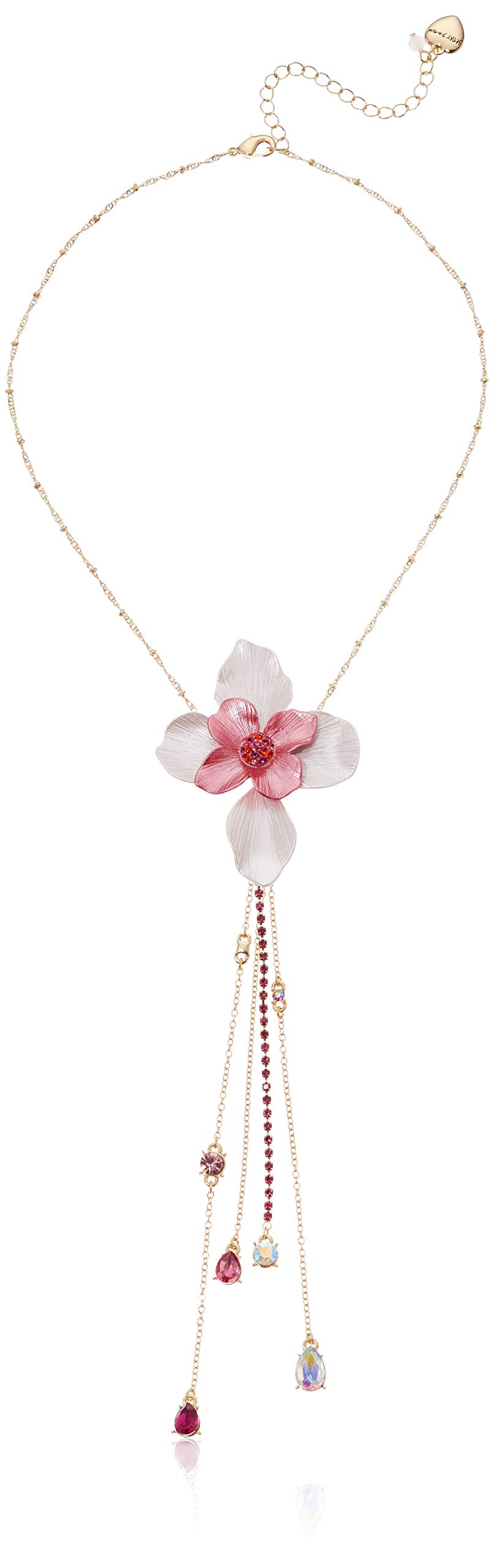 Betsey Johnson (GBG) Women's Floral Y-Shaped Necklace, Pink, One Size