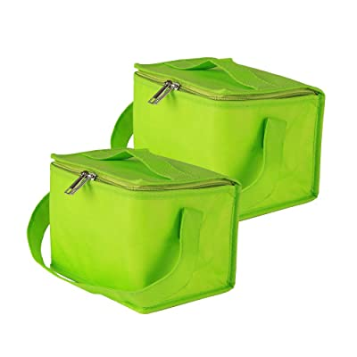 Ezek Insulated Reusable Lunch Bags with Strap and Sturdy Zipper for Women Men Adult Kids, Made by Eco-Friendly Heavy Duty Non-Woven Thermal Cooler Tote,Office, Picnic, Beach, Green,2-Pack: Baby