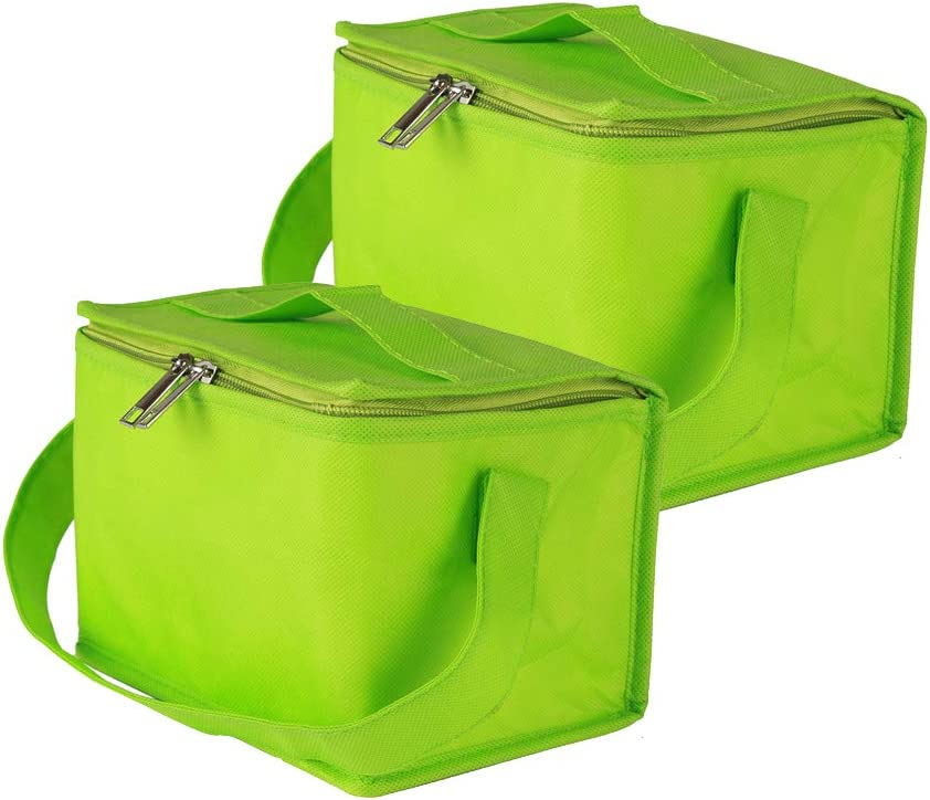 Ezek Insulated Reusable Lunch Bags with Strap and Sturdy Zipper for Women Men Adult Kids, Made by Eco-Friendly Heavy Duty Non-Woven Thermal Cooler Tote,Office, Picnic, Beach, Green,2-Pack