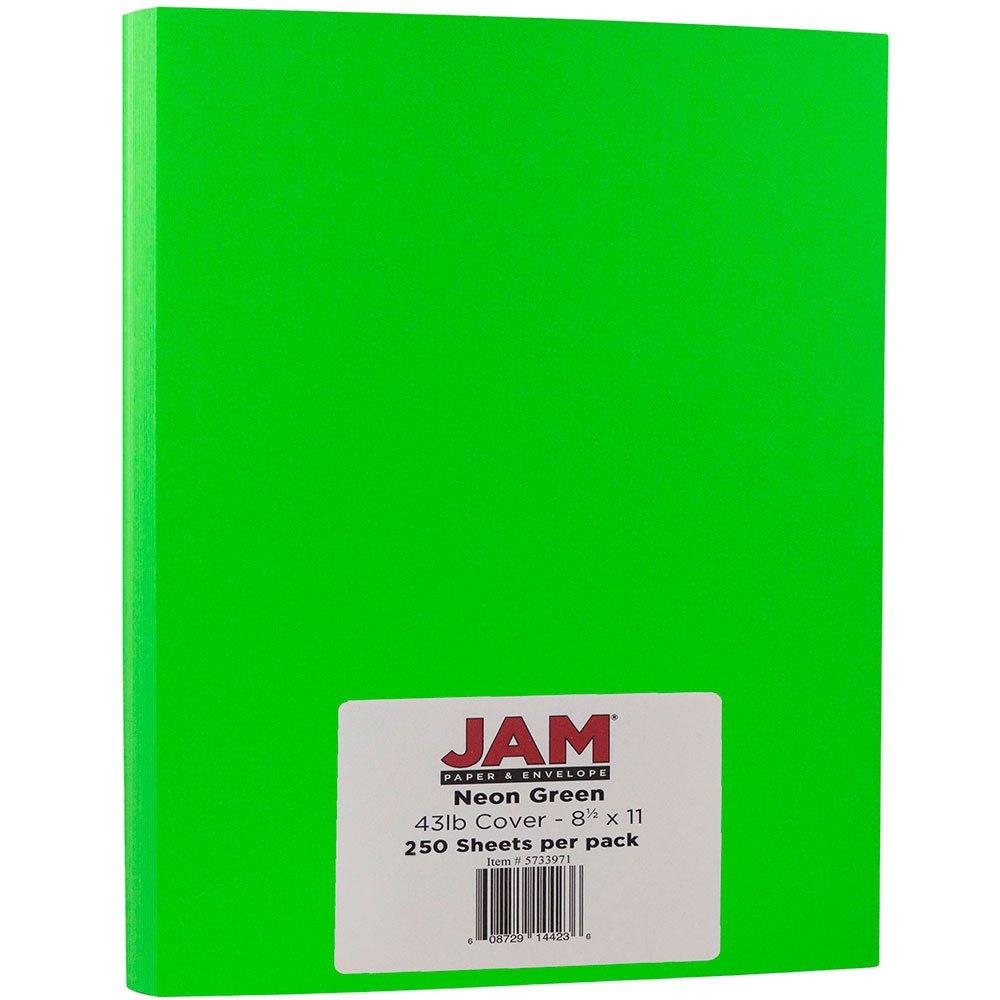 JAM PAPER Neon 43lb Cardstock - 8.5 x 11 Letter Coverstock - Green Neon Fluorescent - 250 Sheets/Ream