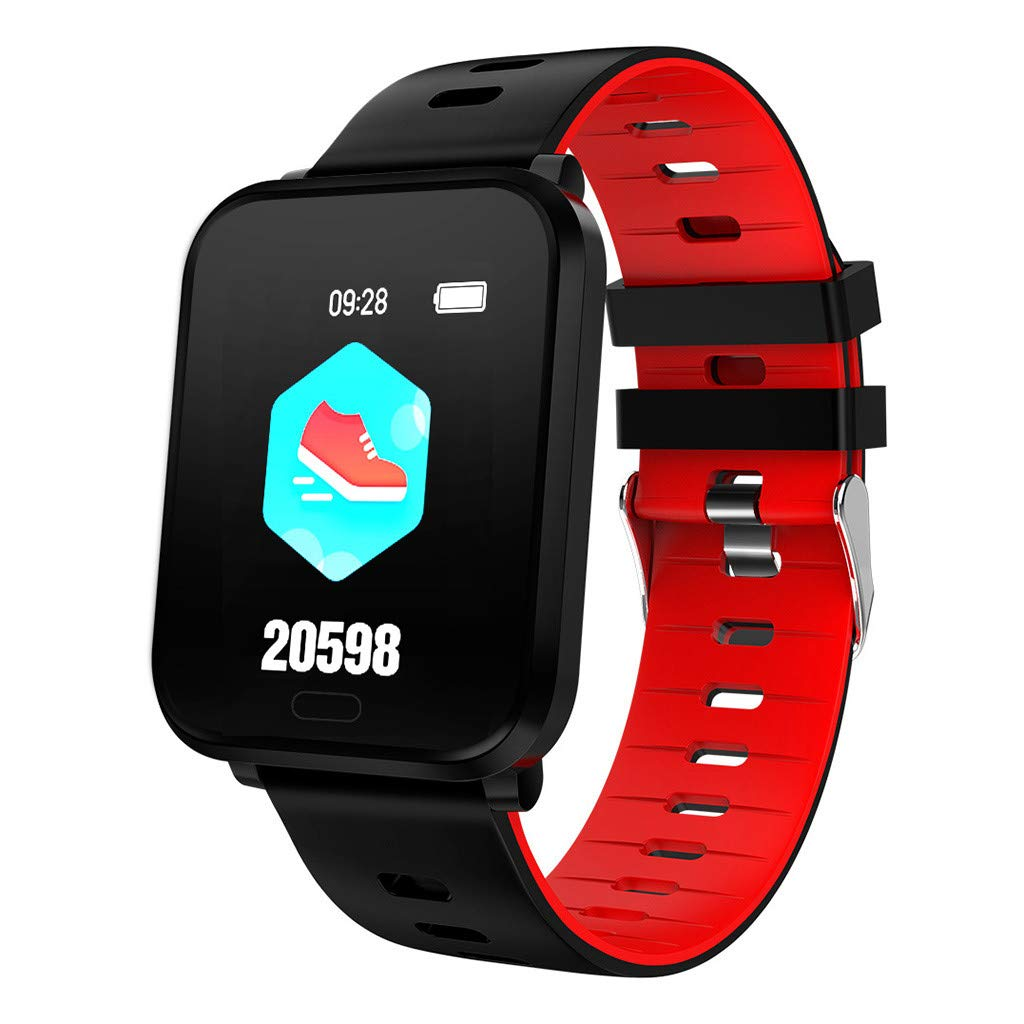 for Android iOS, Sport Smart Watch, Fitness Calorie Heart Rate Monitoring, Remote Photography Smart Bracelet (Red)