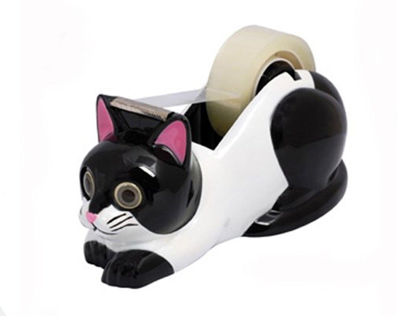 White and Black Cat Tape Dispenser