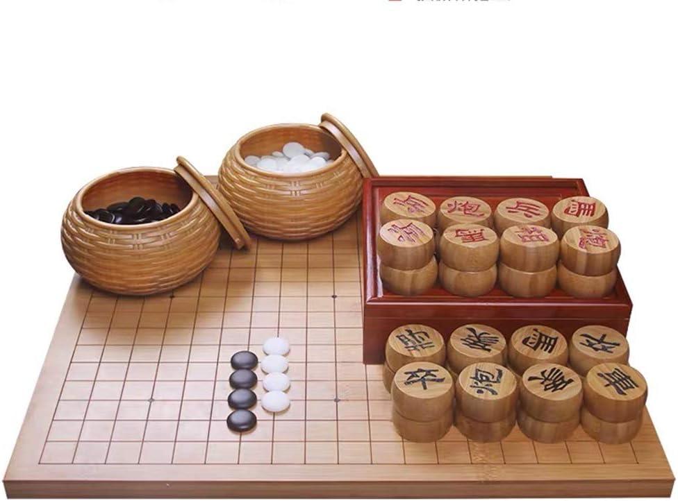 A Doble Cara Tablero de ajedrez Chino y Go Juego Set Go Conjunto Chino Weiqi for Dos Jugadores Junta de Estrategia de Juego de 19 x 19 Go Sistema Incluye Cuencos (