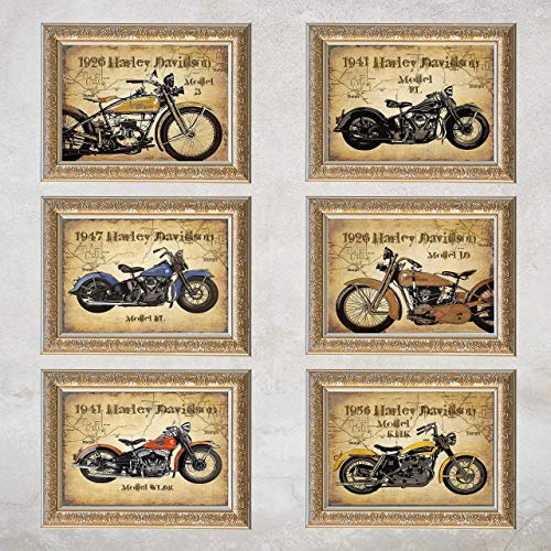 Harley Davidson- 6-Pack Motorcycle Vintage Prints on Sturgis Map Collection- 8 x10's Wall Decor- Ready To Frame. Harley Davidson Gifts- Home Decor- Office Decor. Great for Man Cave- Bar- Garage.