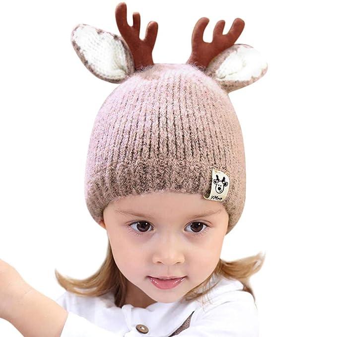 Topgrowth Cappello Bambini Natale Ramificazione Berretto in Maglia Bimba  Palla di Pelo Cappello di Beanie Neonato 58a1990f45fd