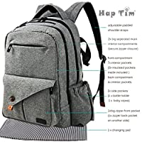 HapTim Multi-function Large Baby Diaper Bag Backpack W/Stroller Straps-Insulated Pockets-Changing Pad, Stylish & Durable with Anti-Water Material(Gray-5284) by HapTim