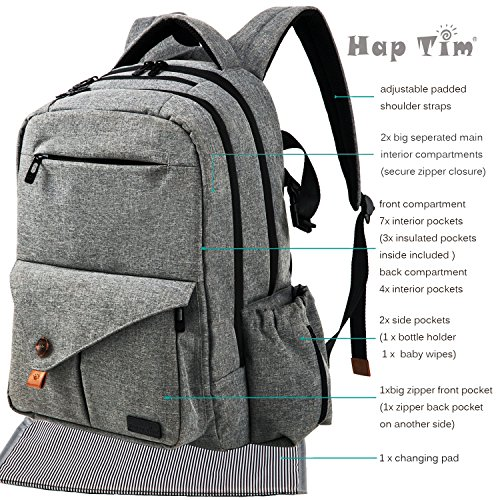 haptim multi function large baby diaper bag backpack import it all. Black Bedroom Furniture Sets. Home Design Ideas