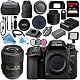 Nikon D7500 DSLR Camera (Body Only) 1581 AF-S VR Micro-NIKKOR 105mm f/2.8G IF-ED Lens 2160 + 62mm 3 Piece Filter Kit + 256GB SDXC Card + Professional 160 LED Video Light Studio Series Bundle