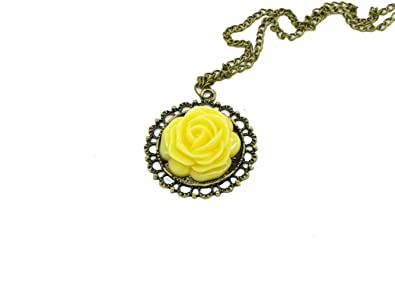 Amazon vintage nostalgic bronze yellow flower rose rose bud vintage nostalgic bronze yellow flower rose rose bud long pendant necklace chain mightylinksfo